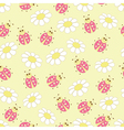 seamless pattern with ladybugs and daisies vector image
