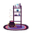 shelving with magic potion bottles and witch vector image vector image