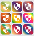shield icon Nine buttons with bright gradients vector image
