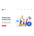 simple data analysis tool landing page analyst vector image vector image