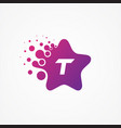 stars pixel for technology symbol letter t design vector image vector image