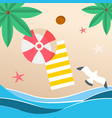 summer beach red umbrella beach mat seagull backgr vector image vector image