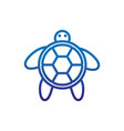 turtle animal marine life thick line blue vector image