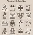 Outline Icons Christmas and New Year vector image