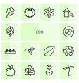 14 eco icons vector image vector image