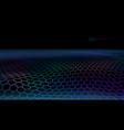 3d futuristic connection hexagon grid web landscap vector image
