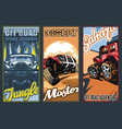 a set three full-color banners on suvs theme in vector image vector image