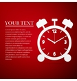Alarm clock flat icon on red background vector image vector image