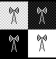 antenna icon isolated on black white and vector image