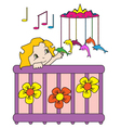Baby in bed vector image