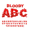 Bloody ABC Red liquid letter Fluid lettring Blood vector image