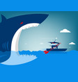 businessman escape on the shark vector image