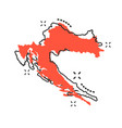 cartoon croatia map icon in comic style croatia vector image vector image