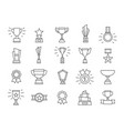 champion line icons winner medals award trophy vector image vector image
