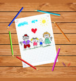 children colorful hand drawn of grandparents and vector image