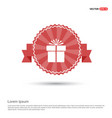 christmas gift box icon - red ribbon banner vector image