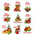 christmas holidays wish and greeting icons vector image vector image