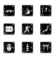 Country Japan icons set grunge style vector image