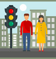 couple at crosswalk concept background flat style vector image
