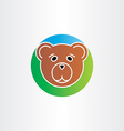 cute sad bear head icon vector image