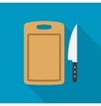 cutting board and knife vector image vector image