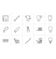 dentistry hand drawn outline doodle icon set vector image vector image