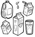 doodle milk jug carton vector image