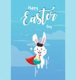 easter bunny superhero holding easter egg vector image vector image