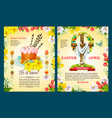 easter sunday poster template of egg cake cross vector image vector image