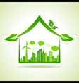Ecology Concept - eco cityscape with home vector image