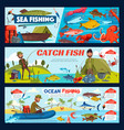 fisherman fishing tackle fish and boat vector image vector image