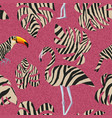 flamingo and toucan in zebra style seamless vector image vector image