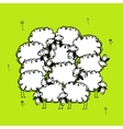 Funny sheeps on meadow sketch for your design vector image