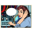 Girl radio space communications with astronauts vector image