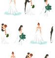 hand drawn abstract cartoon wedding bridals vector image