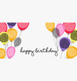 happy birthday web banner with party balloons vector image