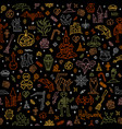 happy halloween pattern with outline colored vector image vector image