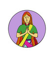 indian woman hands together namaste mono line vector image