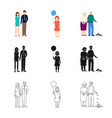 isolated object character and avatar icon set vector image