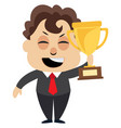 man holding trophy on white background vector image vector image