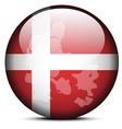 Map on flag button of Kingdom of Denmark vector image vector image