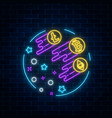 neon sign of three crypto-currencies are growing vector image vector image