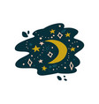night sky with crescent moon and stars vector image