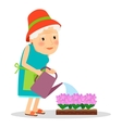 Old woman watering flowers vector image
