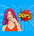 oops pop art retro comic style beautiful girl or vector image vector image