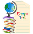 paper template with globe and books vector image vector image