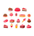pink sweets and desserts big set cupcakes ice vector image