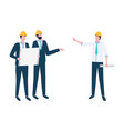 project management workers discussion vector image vector image