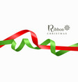 ribbon red and green merry christmas vector image vector image