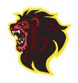roaring lion head logo design vector image vector image
